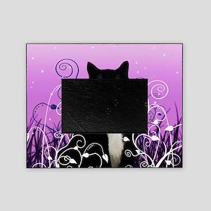 Tuxedo Cat on Lavender Picture Frame