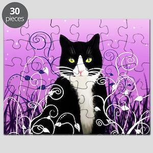 Tuxedo Cat on Lavender Puzzle