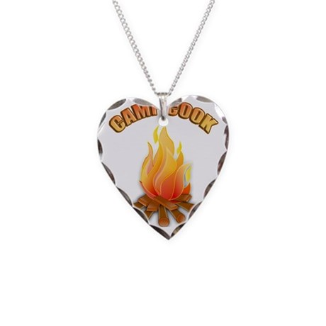 Camp Cook T-shirt Necklace Heart Charm