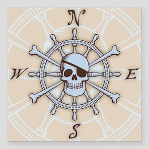 "ship-wheel-sk-PLLO Square Car Magnet 3"" x 3"""
