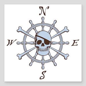 "ship-wheel-sk-LTT Square Car Magnet 3"" x 3"""