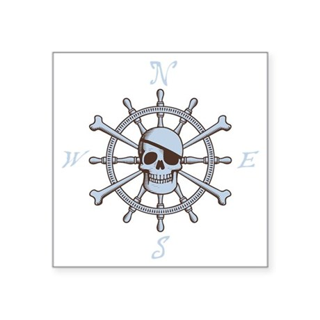 "ship-wheel-sk-DKT Square Sticker 3"" x 3"""