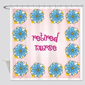 retired nurse pink background Shower Curtain