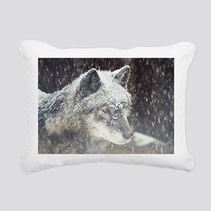 """Black  Timber  Wolf"" Rectangular Canvas Pillow"