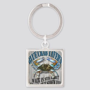 Blue Crab Tavern Square Keychain