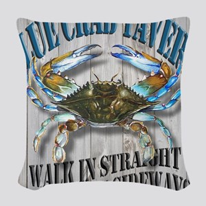 Blue Crab Tavern Woven Throw Pillow