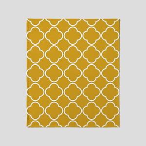 Quatrefoil Rug 5x7 White Gold Throw Blanket