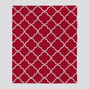 Quatrefoil Rug 5x7 White Dk Berry Re Throw Blanket