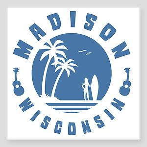 "surf-madison-LTT Square Car Magnet 3"" x 3"""