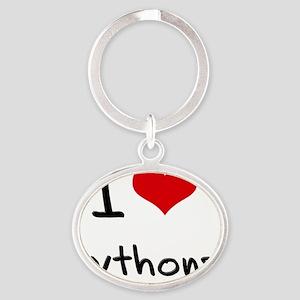 I Love Pythons Oval Keychain