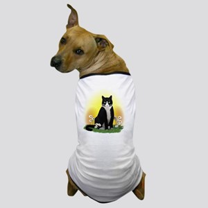 Tuxedo Cat with Daisies Dog T-Shirt