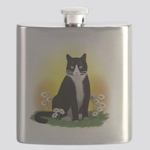 Tuxedo Cat with Daisies Flask