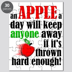 An Apple A Day Will Keep Anyone Away Funny Puzzle