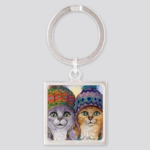 The knitwear cat sisters Square Keychain