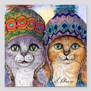 """The knitwear cat sisters Square Car Magnet 3"""" x 3"""""""