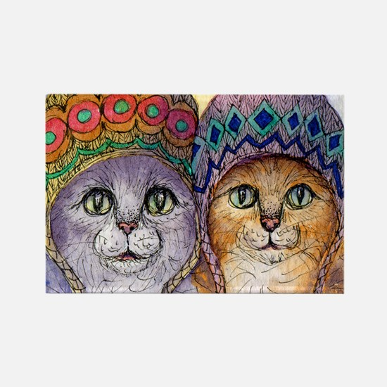 The knitwear cat sisters Rectangle Magnet