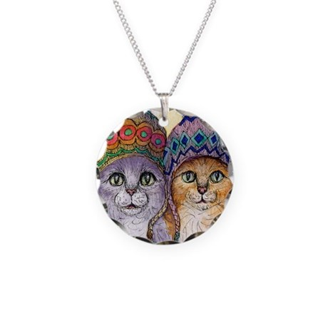 The knitwear cat sisters Necklace Circle Charm