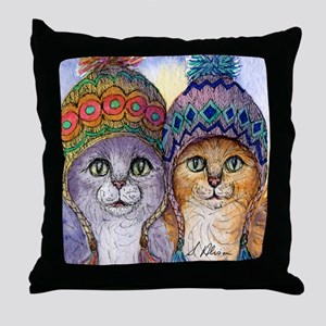 The knitwear cat sisters Throw Pillow