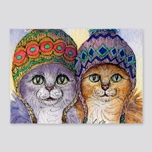 The knitwear cat sisters 5'x7'Area Rug