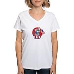 Patriotic Puppy Women's V-Neck T-Shirt
