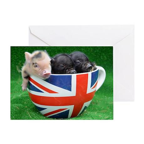 Tea Cup Piggies Greeting Card