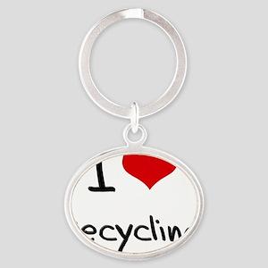 I Love Recycling Oval Keychain
