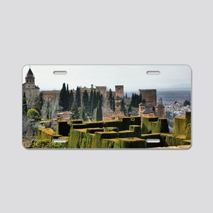 The Alhambra palace in Spai Aluminum License Plate