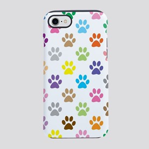 Colorful puppy paw print patte iPhone 7 Tough Case