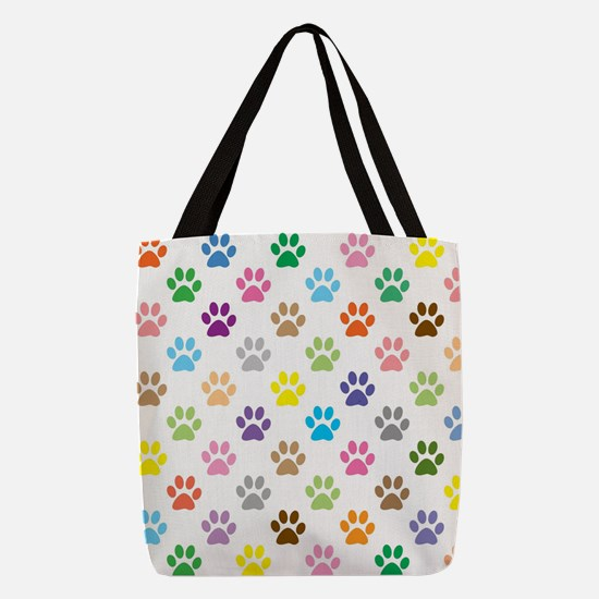 Colorful puppy paw print patter Polyester Tote Bag
