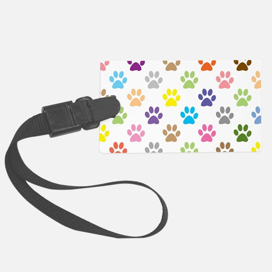 Colorful puppy paw print pattern Luggage Tag