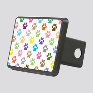 Colorful puppy paw print p Rectangular Hitch Cover