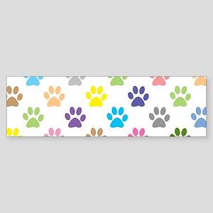 Colorful puppy paw print pattern Bumper Sticker
