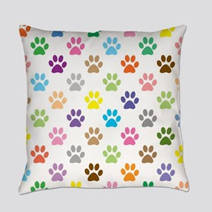 Colorful puppy paw print pattern Everyday Pillow