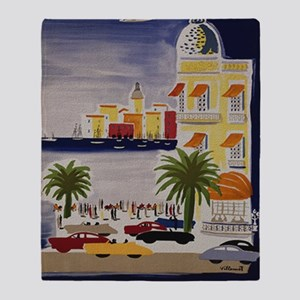 Vintage French Riviera Travel Ad Throw Blanket