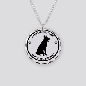 Official Military Scout Dog  Necklace Circle Charm