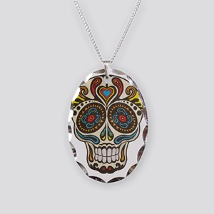 sugar skull Necklace Oval Charm