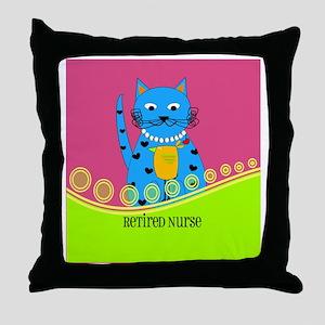 Retired Nurse Cat Throw Pillow