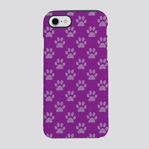 Puppy paw prints on purple bac iPhone 7 Tough Case