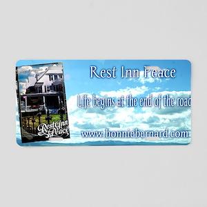 Rest Inn Peace Skyscaper Aluminum License Plate