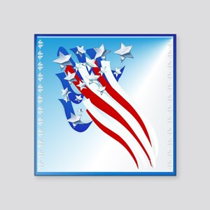 """Sweeping Old Glory Square Sticker 3"""" x 3"""""""
