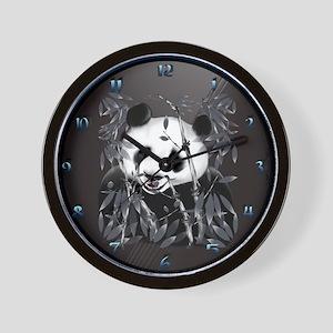 Grey Tone Panda Oval Trans Wall Clock