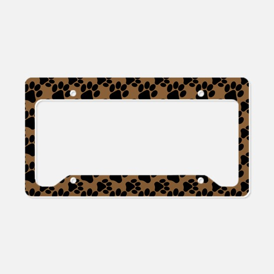 Dog Paws Brown License Plate Holder