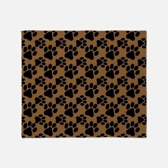 Dog Paws Brown Throw Blanket