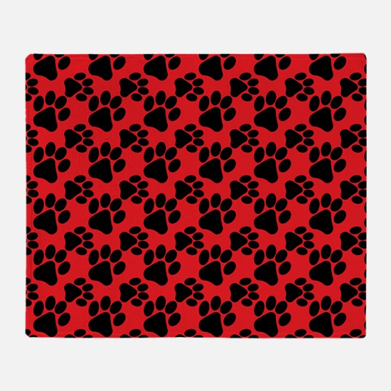 Dog Paws Red Throw Blanket