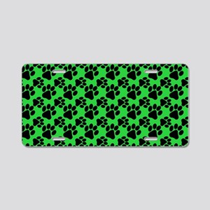 Dog Paws Green Aluminum License Plate