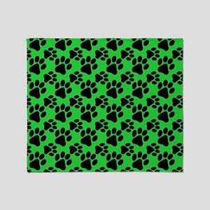 Dog Paws Green Throw Blanket