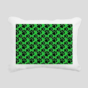 Dog Paws Green Rectangular Canvas Pillow