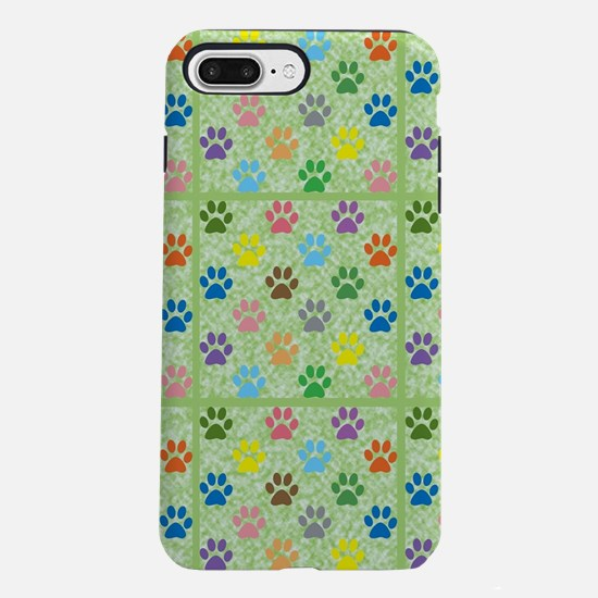 Colorful puppy paw prints iPhone 7 Plus Tough Case