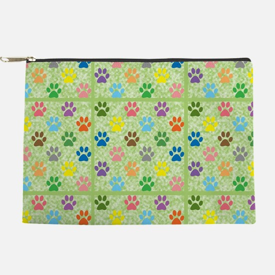 Colorful puppy paw prints pattern Makeup Pouch