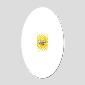 Summer Sun Cartoon with Sung 20x12 Oval Wall Decal